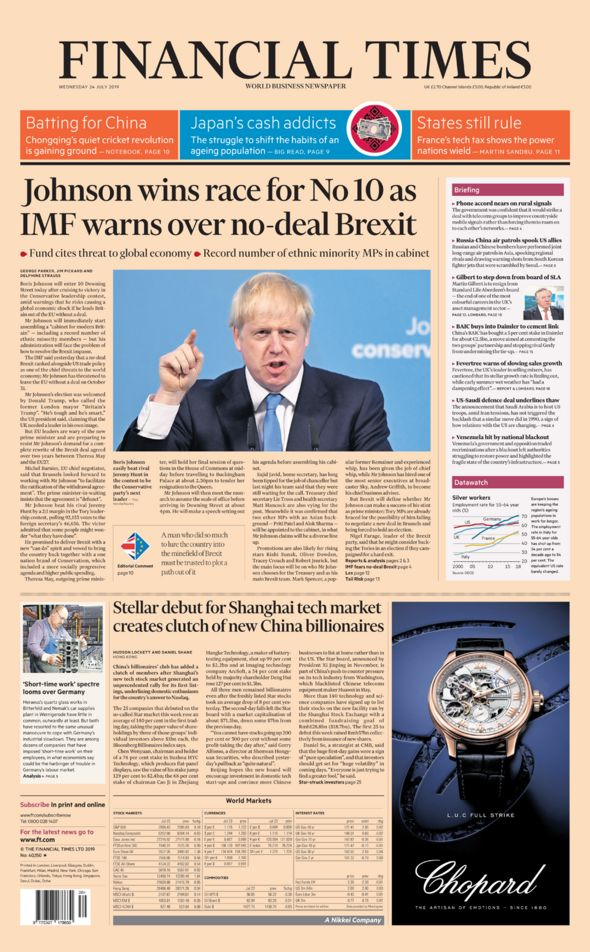 Financial Times front page 25/07/19