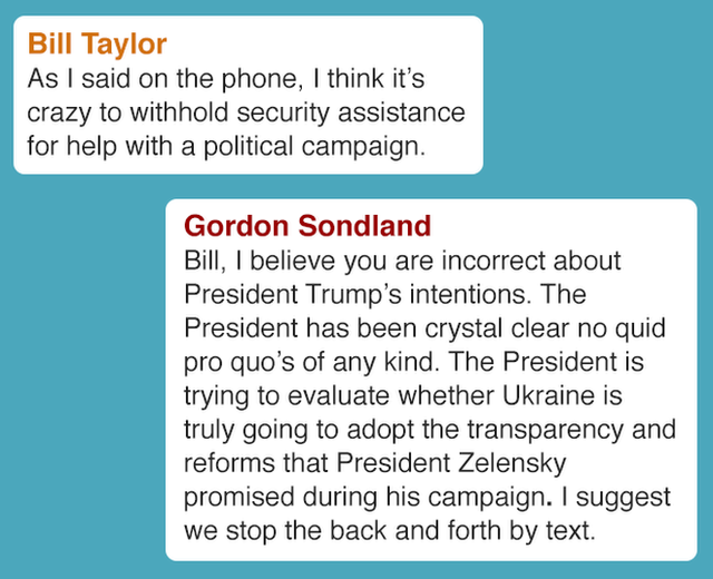 Bill Taylor As I said on the phone, I think it's crazy to withhold security assistance for help with a political campaign. Gordon Sondland Bill, I believe you are incorrect about President Trump's intentions. The President has been crystal clear no quid pro quo's of any kind. The President is trying to evaluate whether Ukraine is truly going to adopt the transparency and reforms that President Zelensky promised during his campaign. I suggest we stop the back and forth by text.