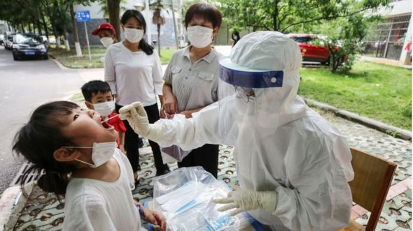 Testing for the virus in Wuhan