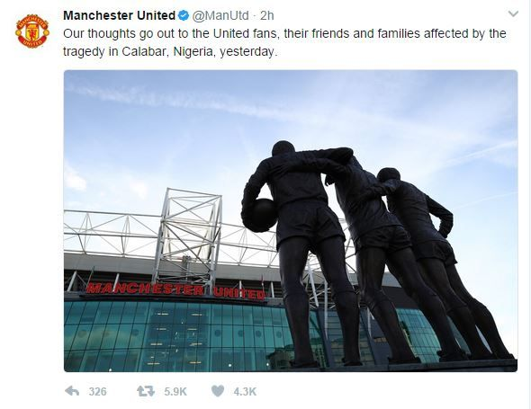 """Manchester United tweet saying: """"Our thoughts go out to the United fans, their friends and families affected by the tragedy in Calabar."""""""