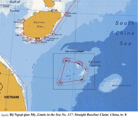 Đường cơ sở thẳng do TQ tự công bố quanh quần đảo Hoàng Sa