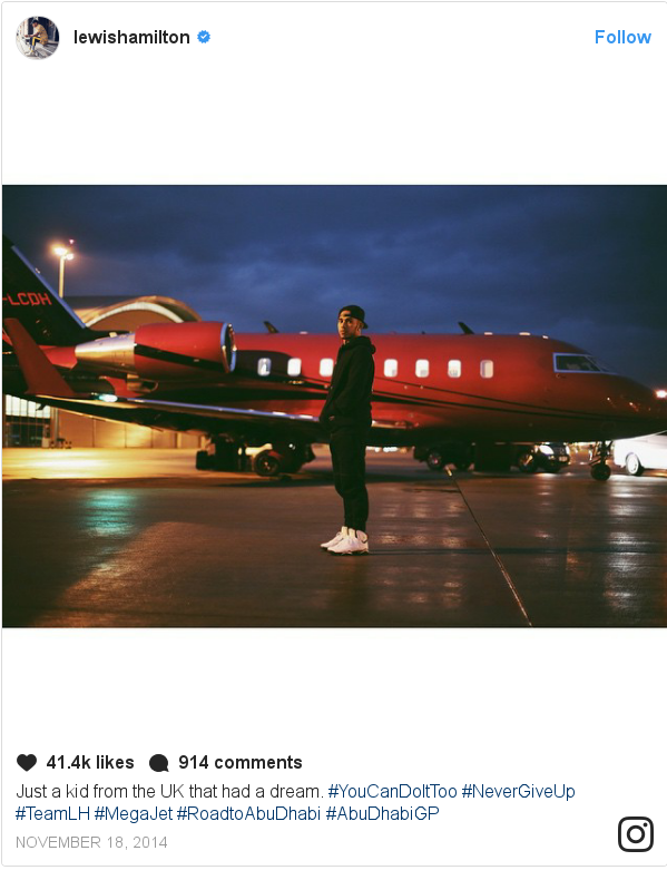 659adf6120d Instagram post by lewishamilton: Just a kid from the UK that had a dream.