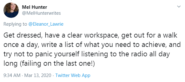 A Twitter user shares some tips for working from home