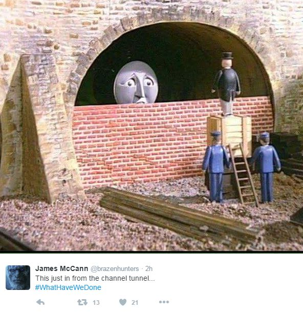Picture from Thomas The Tank Engine of bricjed up tunnel