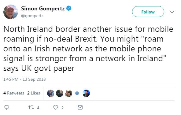 """A tweet from Simon Gompertz reading """"North Ireland border another issue for mobile roaming if no-deal Brexit. You might 'roam onto an Irish network as the mobile phone signal is stronger from a network in Ireland' says UK govt paper"""""""