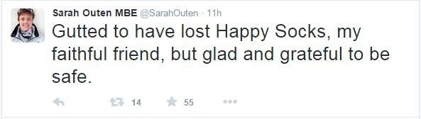 """Sarah Outen tweeted that she is """"gutted to have lost Happy Socks, my faithful, but glad and grateful to be safe."""""""