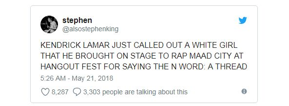 A tweet about Kendrick Lamar calling out a fan for using the N-word