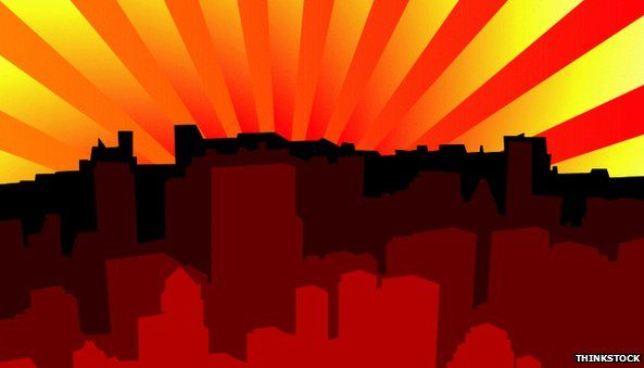 Sunset on a city illustration