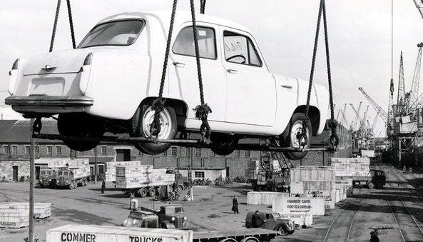 Car yn cael ei allforio i Awstralia yn 1955