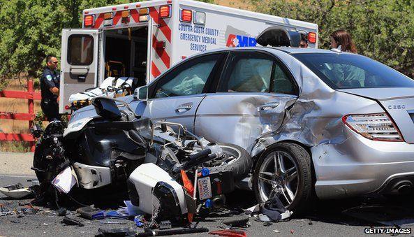 Car crash in front of ambulance