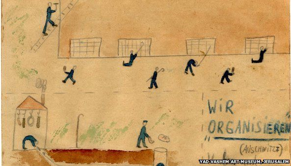 """Thomas Geve (b. 1929), We are """"Organizing"""", Buchenwald DP camp, 1945, Pencil, coloured pencil and watercolour on paper, 10X15 cm, Collection of the Yad Vashem Art Museum, Jerusalem, Gift of the artist"""