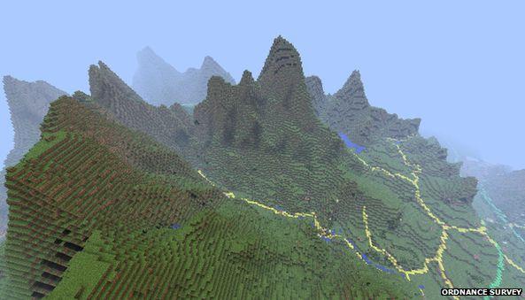 OS Minecraft map of Snowdonia