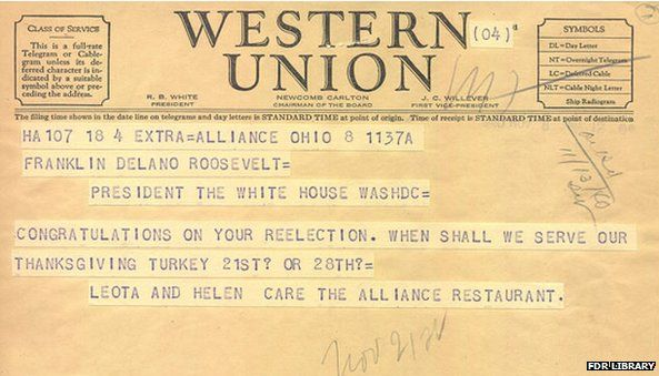 Western Union telegraph protesting Thanksgiving change