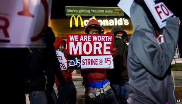 Workers in Michigan protested in the early morning outside a McDonalds