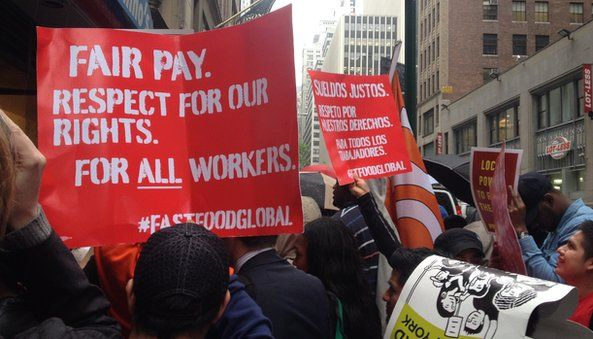 Fair pay respect for our rights for all workers sign