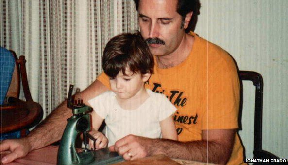 Jonathan Grado (young) sitting in his father John's lap