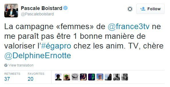 """Tweet by French women's minister Pascale Boistard: """"The 'women' campaign of @france3tv does not seem like a good way to promote professional equality"""""""