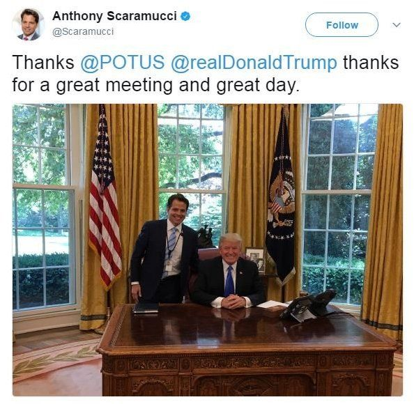 "On June 29, Anthony Scaramucci tweeted a picture of himself with Donald Trump, smiling broadly, which reads: ""Thanks @POTUS @realDonaldTrump thanks for a great meeting and great day."""
