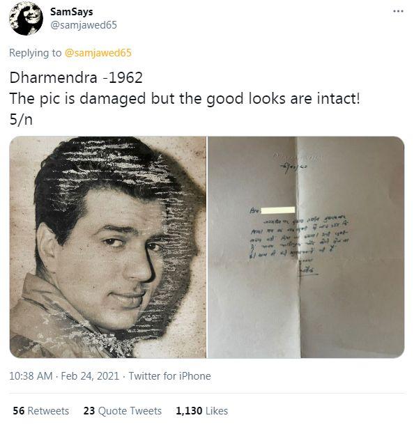 Dharmendra's letter