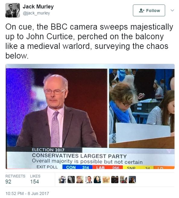 """Tweet, saying that Curtice is """"surveying the chaos below"""""""