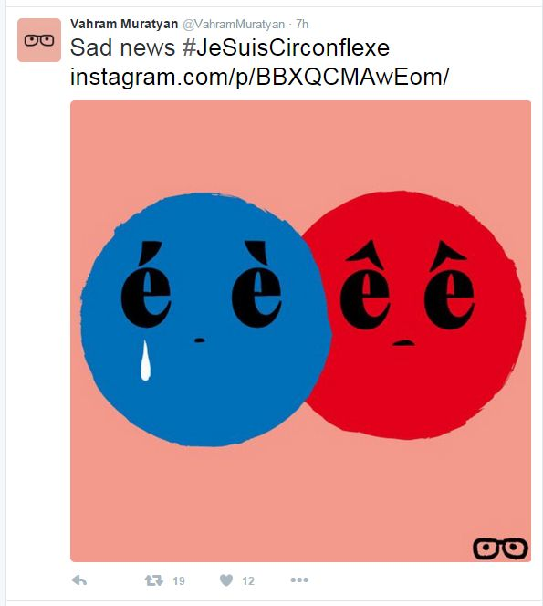 """A tweet reads: """"Sad news #JeSuisCirconflexe"""" along with an image of weeping accents"""