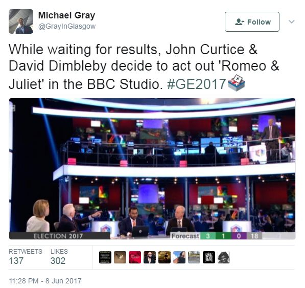 Tweet, saying that Curtice and Dimbleby are recreating Romeo and Juliet