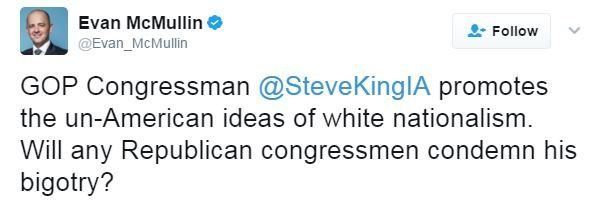 """Former independent presidential candidate writes: """"Steve King promotes the un-American ideas of white nationalism."""""""