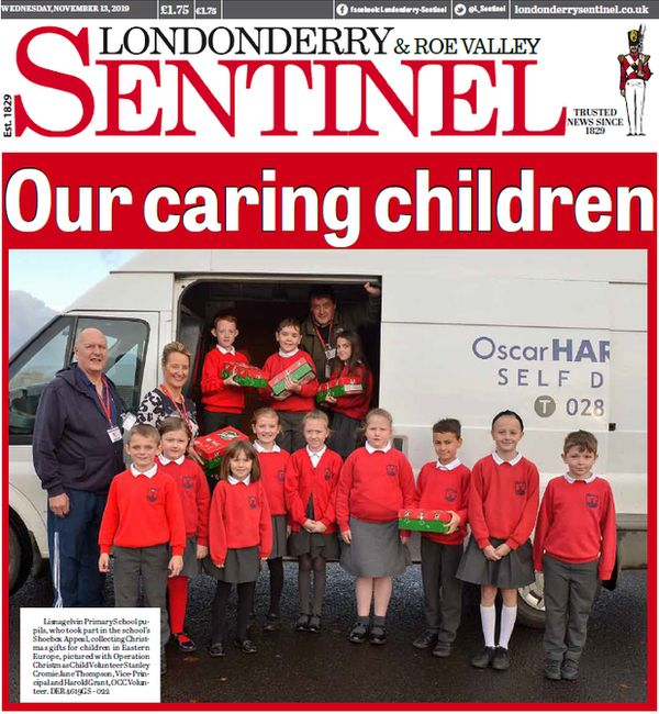 The front page of the Londonderry Sentinel