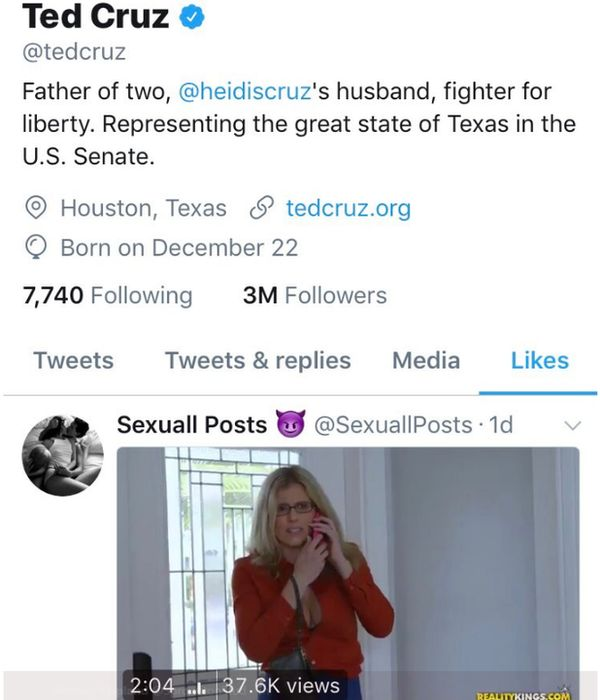 The Senator liked the video posted by Sexuall Posts on Monday