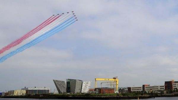 The Red Arrows flew over the Titanic slipway and the Titanic Museum in Belfast
