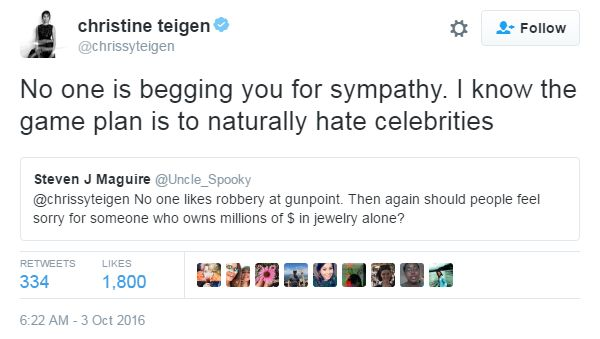 """No one is begging you for sympathy. I know the game plan is to naturally hate celebrities"""