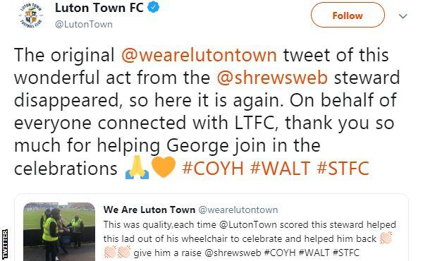 Luton Town thank Shrewsbury steward for helping disabled fan
