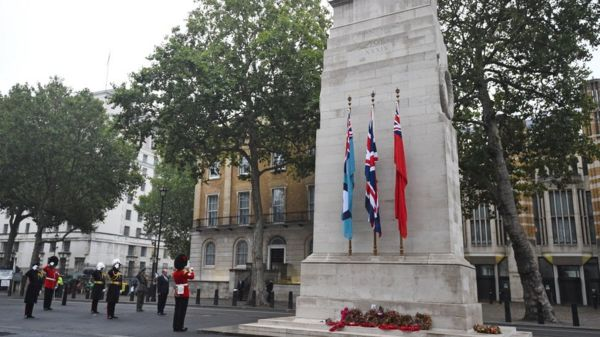 Wreaths around the Cenotaph on 15 August 2020