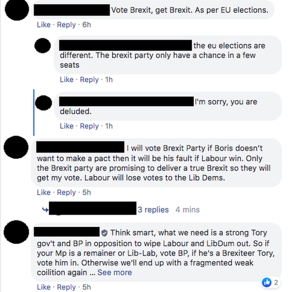 'Vote Brexit get Brexit'... 'the brexit party only have a chance in a few seats'... 'I'm sorry, you are deluded.'