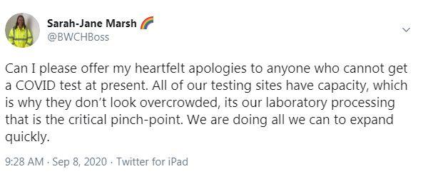 Tweet from Sarah-Jane Marsh @BWCHBoss