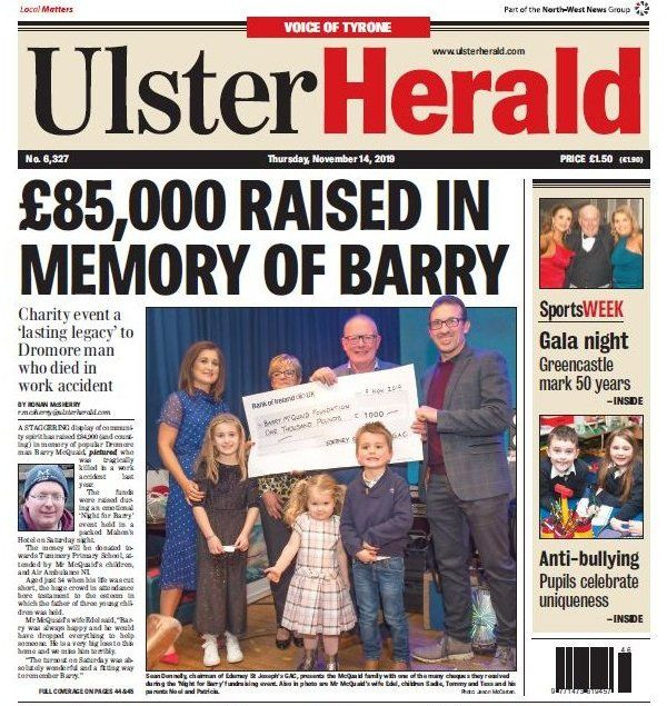 The front page of the Ulster Herald