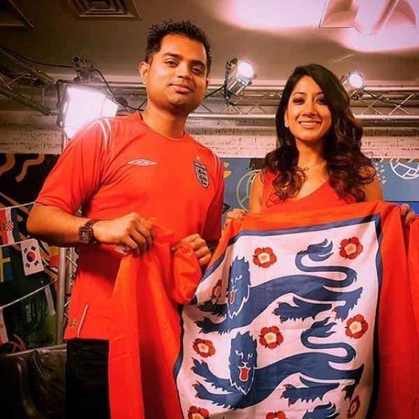 Reshmin and Aranya Syed with England flag and kit