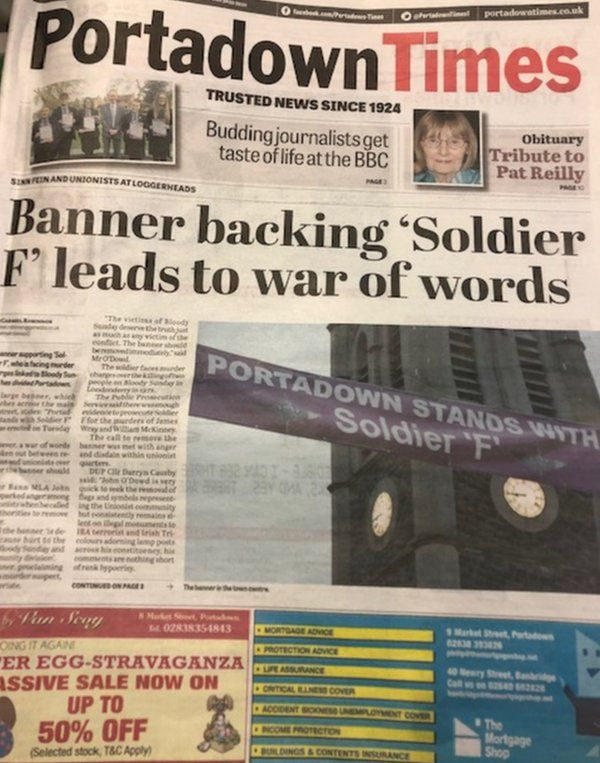 Portadown Times fornt page