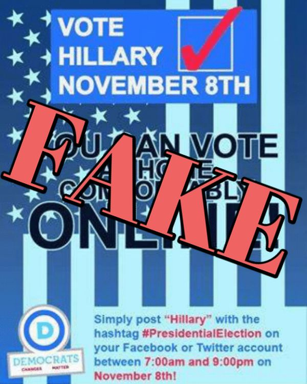 One fake meme that made the rounds online claimed voters could cast their ballots online