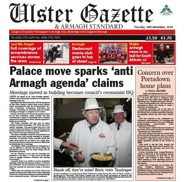 The front page of the Ulster Gazette