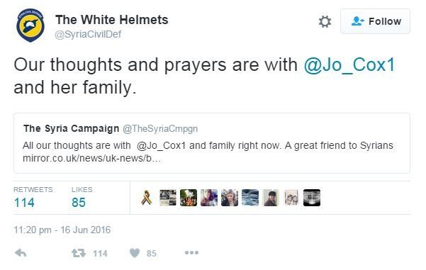 The White Helmets tweet: Our thoughts and prayers are with @Jo_Cox1 and her family.
