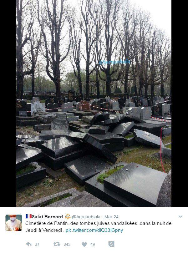 Screenshot of a tweet: 'Pantin cemetery… Jewish tombs vandalised… during the night of Thursday to Friday.'