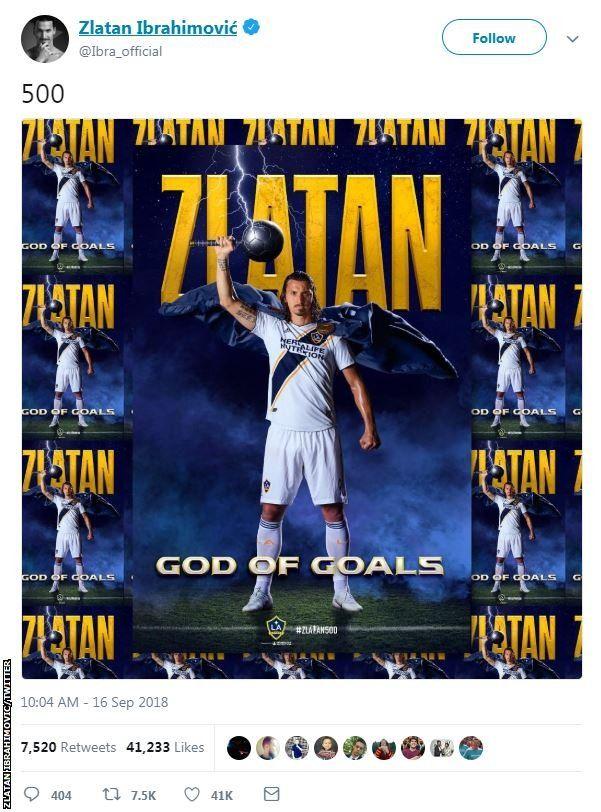 Zlatan Ibrahimovic Swedish Striker Scores 500th Career Goal In Style Bbc Sport