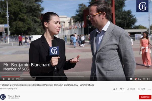 A screenshot of a video from the Times of Geneva website showing a reporter interviewing Benjamin Blanchard