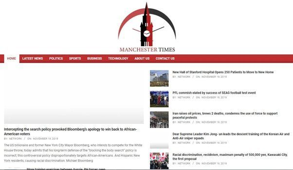 Screen shot of Manchester Times website