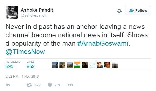 Tweet from @ashokepandit: Never in the past has an anchor leaving a news channel become national news in itself. Shows the popularity of the man.