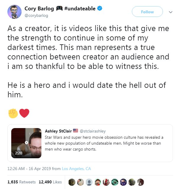 Tweet reads: As a creator, it is videos like this that give me the strength to continue in some of my darkest times. This man represents a true connection between creator an audience and i am so thankful to be able to witness this.