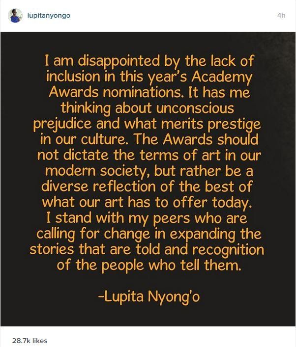 Lupita Nyong'o's message on Instagram