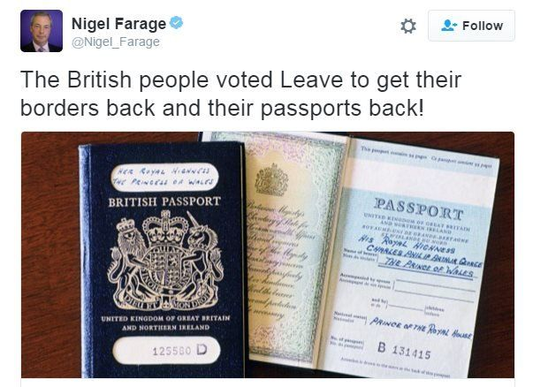 Nigel Farage tweet