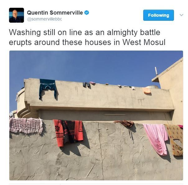 Quentin Sommerville tweet from Mosul: Washing on the line outside west Mosul houses